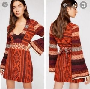 Free People Patchwork Knit Sweater Dress S